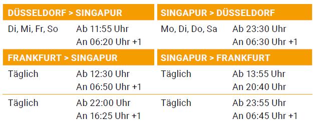 Flugplan Singapur